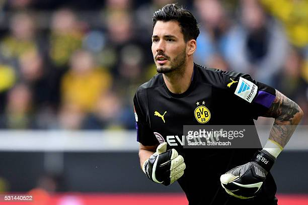 Goalkeeper Roman Buerki of Dortmund looks on during the Bundesliga match between Borussia Dortmund and 1 FC Koeln at Signal Iduna Park on May 14 2016...