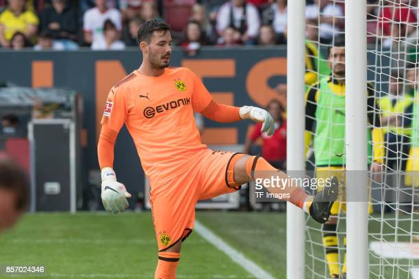Goalkeeper Roman Buerki of Dortmund looks on during the Bundesliga match between FC Augsburg and Borussia Dortmund at WWKArena on September 30 2017...