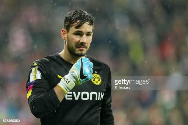 Goalkeeper Roman Buerki of Dortmund looks on during the German Cup semi final soccer match between FC Bayern Munich and Borussia Dortmund at the...