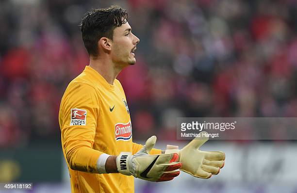 Goalkeeper Roman Buerki of Freiburg gestures during the Bundesliga match between FSV Mainz 05 and SC Freiburg at Coface Arena on November 22 2014 in...