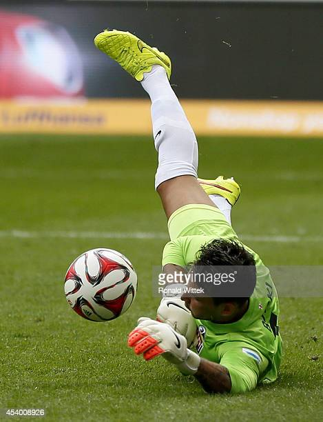 Goalkeeper Roman Buerki of Freiburg reacts for the ball during the Bundesliga match between Eintracht Frankfurt and SC Freiburg at CommerzbankArena...