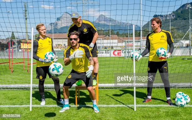 goalkeeper Roman Buerki with special glasses of Borussia Dortmund in action during a training session as part of the training camp on July 30 2017 in...