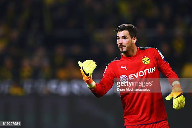Goalkeeper Roman Burki of Borussia Dortmund in action during the Bundesliga match between Borussia Dortmund and FC Schalke 04 at Signal Iduna Park on...