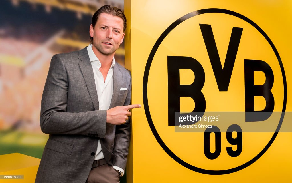 goalkeeper Roman Weidenfeller of Borussia Dortmund poses after he extended his contract with the club until 2018 on May 9, 2017 in Dortmund, Germany.