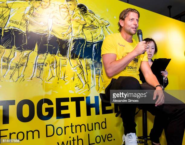 Goalkeeper Roman Weidenfeller of Borussia Dortmund speaks to fans during a meet and greet in the Puma store Harajuku on July 14 2017 in Tokyo Japan