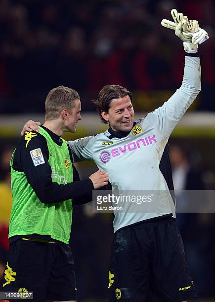 Goalkeeper Roman Weidenfeller of Dortmund celebrates after winning the Bundesliga match between Borussia Dortmund and Bayern Muenchen at Signal Iduna...