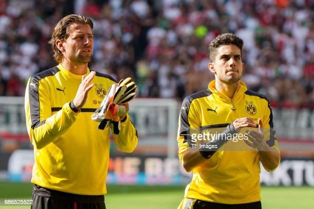 Goalkeeper Roman Weidenfeller of Dortmund Marc Bartra of Dortmund looks on during the Bundesliga match between FC Augsburg and Borussia Dortmund at...