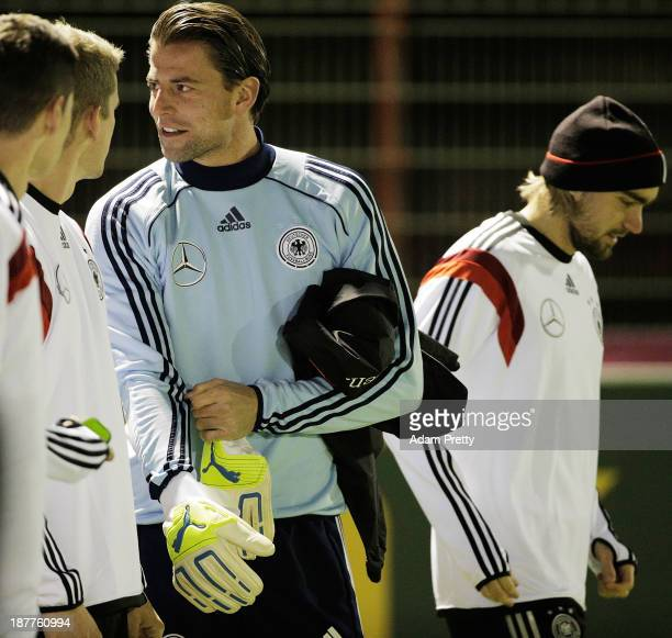 Goalkeeper Roman Weidenfeller of Germany prepares for training at the Bayern Munich Training Ground on November 12 2013 in Munich Germany