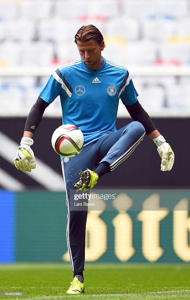 Goalkeeper Roman Weidenfeller plays with the ball during a Germany training session at Esprit Arena on September 2, 2014 in Duesseldorf, Germany.