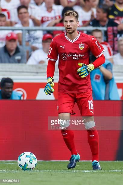 Goalkeeper RonRobert Zieler of Stuttgart controls the ball during the Bundesliga match between VfB Stuttgart and 1FSV Mainz 05 at MercedesBenz Arena...