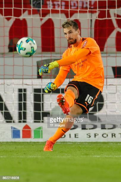 Goalkeeper RonRobert Zieler of Stuttgart controls the ball during the Bundesliga match between VfB Stuttgart and 1 FC Koeln at MercedesBenz Arena on...