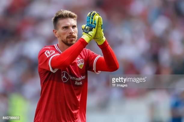 Goalkeeper RonRobert Zieler of Stuttgart gestures during the Bundesliga match between VfB Stuttgart and 1FSV Mainz 05 at MercedesBenz Arena on August...