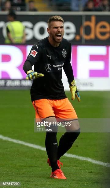Goalkeeper RonRobert Zieler of Stuttgart gestures during the Bundesliga match between Eintracht Frankfurt and VfB Stuttgart at CommerzbankArena on...