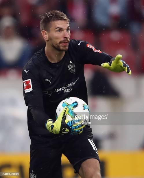 Goalkeeper RonRobert Zieler of Stuttgart holds the ball during the Bundesliga match between VfB Stuttgart and VfL Wolfsburg at MercedesBenz Arena on...