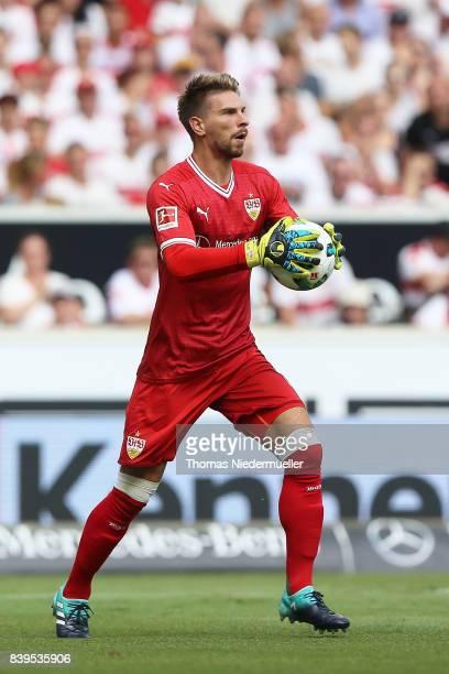 Goalkeeper RonRobert Zieler of Stuttgart in action with the ball during the Bundesliga match between VfB Stuttgart and 1 FSV Mainz 05 at MercedesBenz...