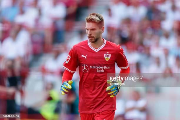 Goalkeeper RonRobert Zieler of Stuttgart looks on during the Bundesliga match between VfB Stuttgart and 1FSV Mainz 05 at MercedesBenz Arena on August...
