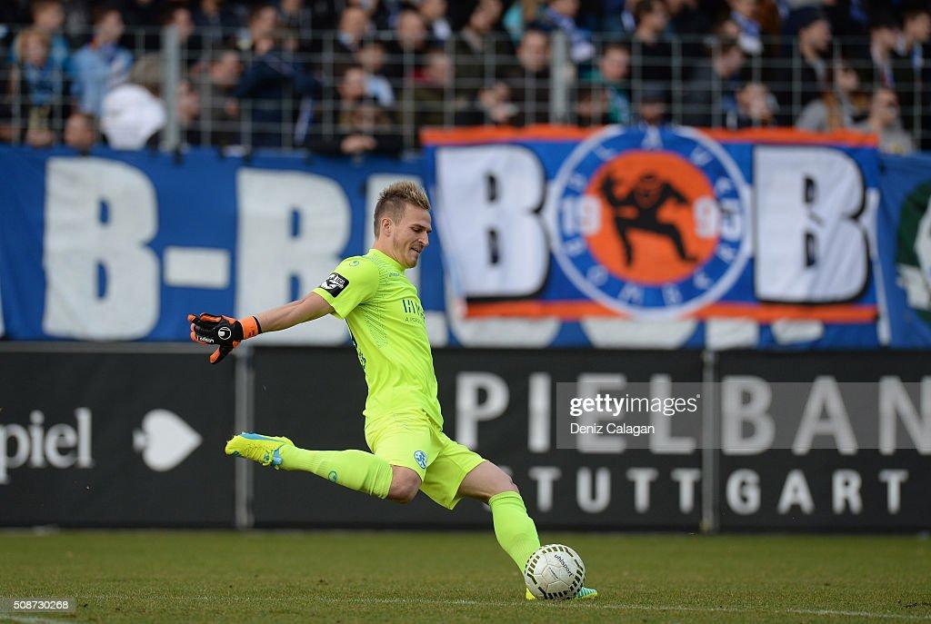 goalkeeper Rouven Sattelmaier of Stuttgart in action during the 3. Liga match between SV Stuttgarter Kickers and FC Hansa Rostock at GAZI-Stadion on February 6, 2016 in Stuttgart, Germany.