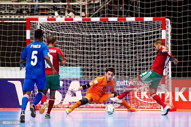 Goalkeeper Rovshan Huseynli of Azerbaijan saves a shot on target of Bilal Bakkali of Morocco during the FIFA Futsal World Cup Group F match between...