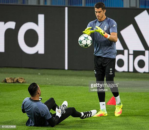 Goalkeeper Ruben Yanez of Madrid and Goalkeeper Keylor Navas of Madrid in action during the training session at Signal Iduna Park on September 26...