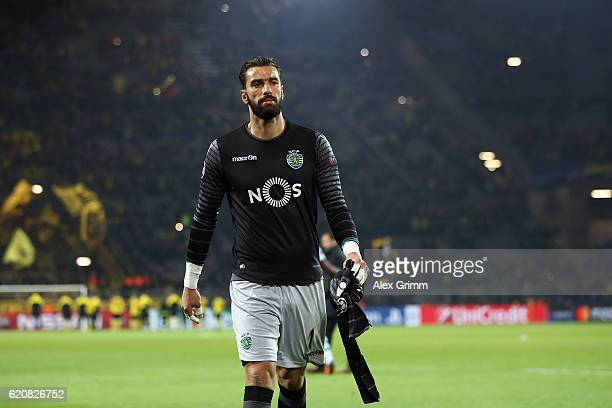 Goalkeeper Rui Patricio of Sporting reacts after the UEFA Champions League Group F match between Borussia Dortmund and Sporting Clube de Portugal at...