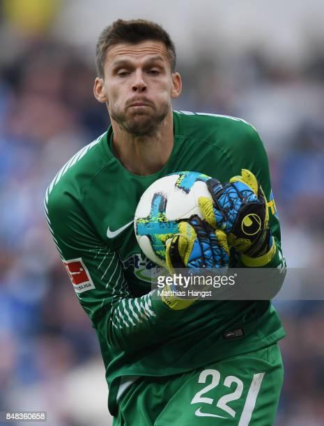 Goalkeeper Rune Jarstein of Berlin in action during the Bundesliga match between TSG 1899 Hoffenheim and Hertha BSC at Wirsol RheinNeckarArena on...