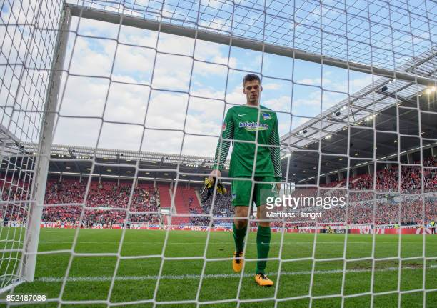 Goalkeeper Rune Jarstein of Berlin shows his disappointment after the Bundesliga match between 1 FSV Mainz 05 and Hertha BSC at Opel Arena on...