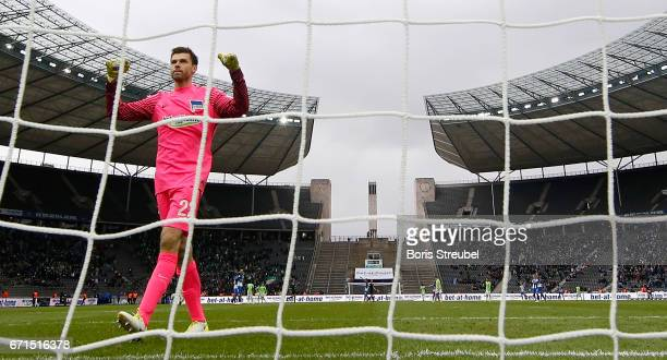Goalkeeper Rune Jarstein of Hertha BSC celebrates after winning the Bundesliga match between Hertha BSC and VfL Wolfsburg at Olympiastadion on April...