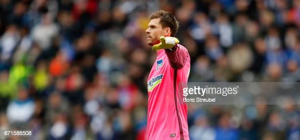Goalkeeper Rune Jarstein of Hertha BSC gestures during the Bundesliga match between Hertha BSC and VfL Wolfsburg at Olympiastadion on April 22 2017...