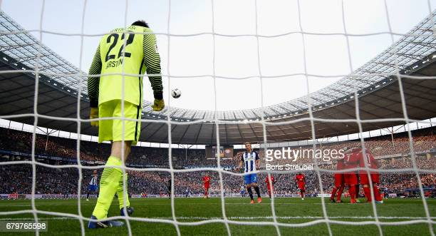Goalkeeper Rune Jarstein of Hertha BSC looks dejected after Timo Werner of RB Leipzig scores his team's second goal during the Bundesliga match...