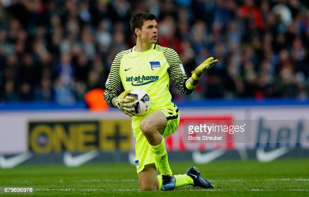 Goalkeeper Rune Jarstein of Hertha BSC reacts during the Bundesliga match between Hertha BSC and RB Leipzig at Olympiastadion on May 6 2017 in Berlin...