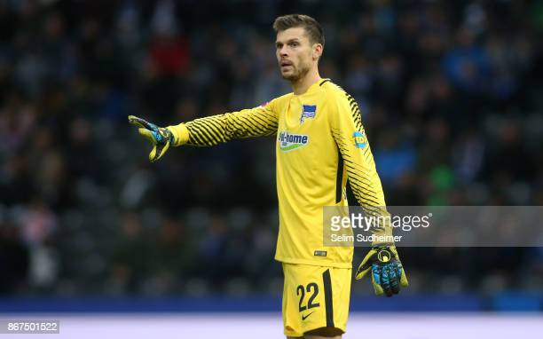 Goalkeeper Rune Jarstein of Hertha BSC reacts during the Bundesliga match between Hertha BSC and Hamburger SV at Olympiastadion on October 28 2017 in...