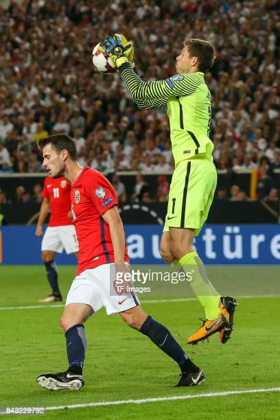 Goalkeeper Rune Jarstein of Norway controls the ball during the FIFA 2018 World Cup Qualifier between Germany and Norway at MercedesBenz Arena on...