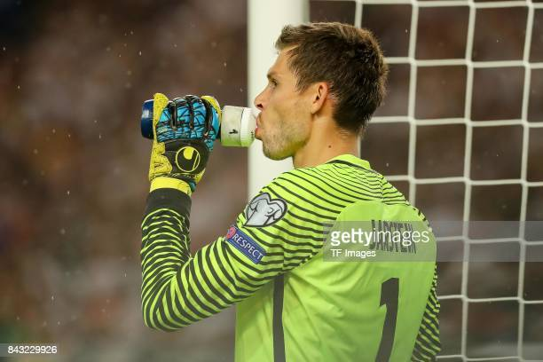 Goalkeeper Rune Jarstein of Norway gestures during the FIFA 2018 World Cup Qualifier between Germany and Norway at MercedesBenz Arena on September 4...