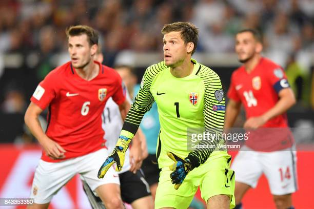 Goalkeeper Rune Jarstein of Norway in action during the FIFA 2018 World Cup Qualifier between Germany and Norway at MercedesBenz Arena on September 4...