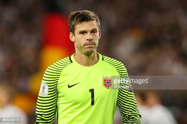 Goalkeeper Rune Jarstein of Norway looks on during the FIFA 2018 World Cup Qualifier between Germany and Norway at MercedesBenz Arena on September 4...