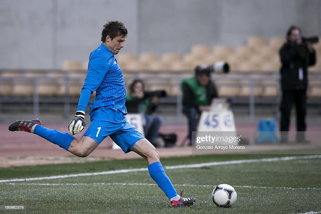 Goalkeeper Rune Jarstein of Norway strikes the ball during the international friendly football match between Norway and Ukraine at Estadio Olimpico de Sevilla on February 6, 2013 in Seville, Spain.