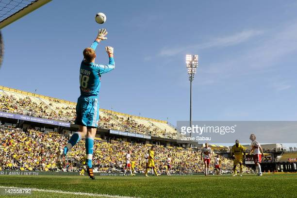Goalkeeper Ryan Meara of the New York Red Bulls jumps to make a save on a shot from the Columbus Crew in the second half on April 7 2012 at Crew...