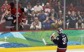 Goalkeeper Ryan Miller of the United States is seen during the ice hockey men's semifinal game between the United States and Finland on day 15 of the...