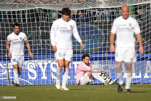 Goalkeeper Salvatore Sirigu of Palermo looks dejected after Cagliari scored their third goal during the Serie A match between Cagliari Calcio and US...