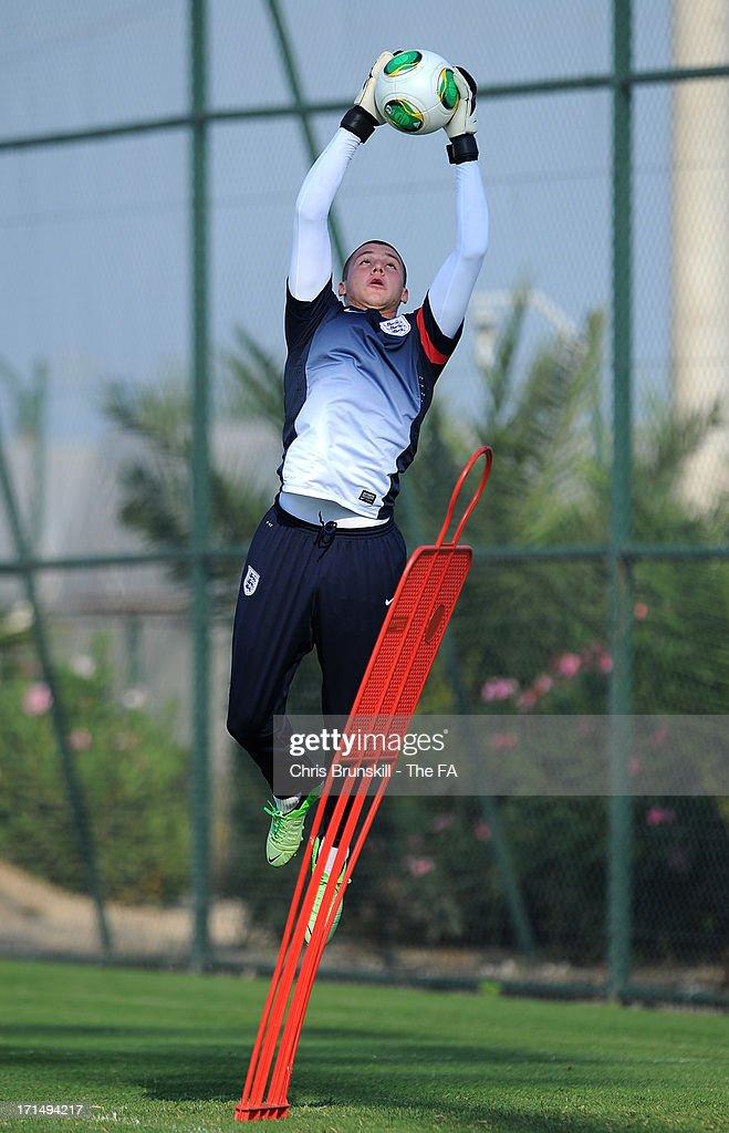 Goalkeeper Sam Johnstone catches the ball during an England U20 training session on June 25, 2013 in Antalya, Turkey.