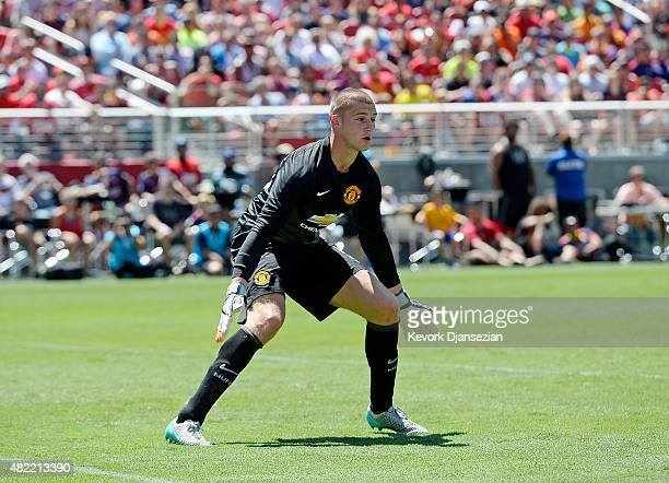 Goalkeeper Sam Johnstone of Manchester United defends against FC Barcelona during the second half of a friendly soccer match of International...