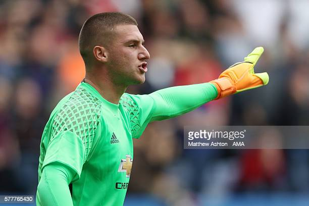 Goalkeeper Sam Johnstone of Manchester United during the preseason friendly between Wigan Athletic and Manchester United at JJB Stadium on July 16...