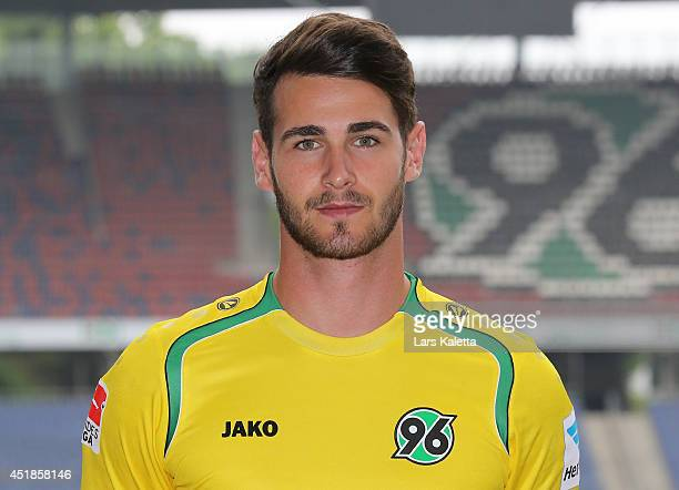Goalkeeper Samuel Radlinger poses during the team presentation at HDIArena on July 8 2014 in Hanover Germany