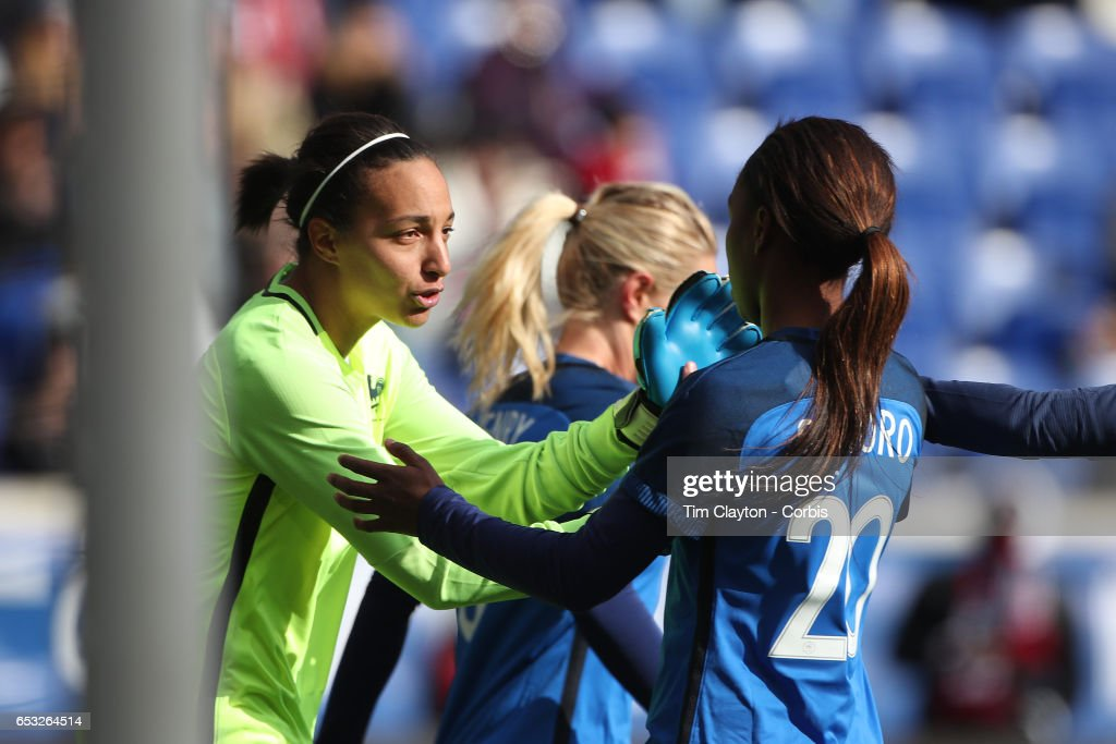 Goalkeeper Sarah Bouhaddi #16 of France in action during the France Vs Germany SheBelieves Cup International match at Red Bull Arena on March 4, 2017 in Harrison, New Jersey.