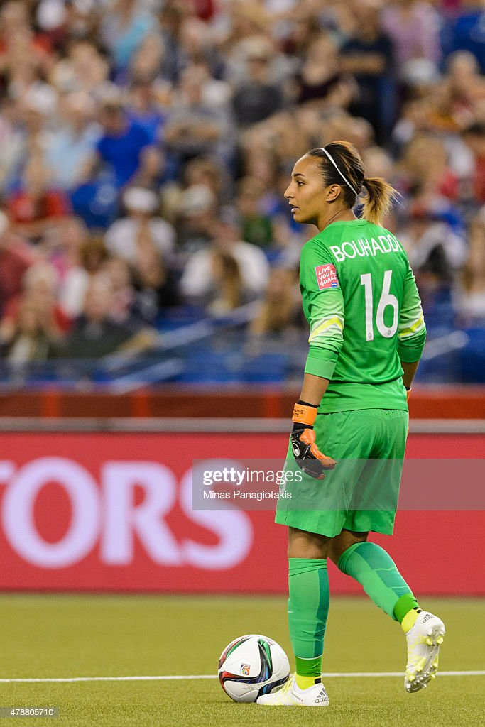Goalkeeper <a gi-track='captionPersonalityLinkClicked' href=/galleries/search?phrase=Sarah+Bouhaddi&family=editorial&specificpeople=2351270 ng-click='$event.stopPropagation()'>Sarah Bouhaddi</a> #16 of France looks to play the ball during the 2015 FIFA Women's World Cup quarter final match against Germany at Olympic Stadium on June 26, 2015 in Montreal, Quebec, Canada. Germany defeated France 5-4 on penalty kicks and move to the semifinal round.
