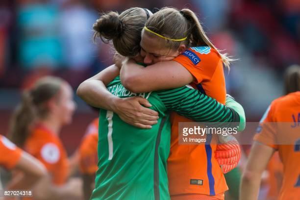 goalkeeper Sari van Veenendaal of Holland Women Anouk Dekker of Holland Women during the UEFA WEURO 2017 final match between The Netherlands and...