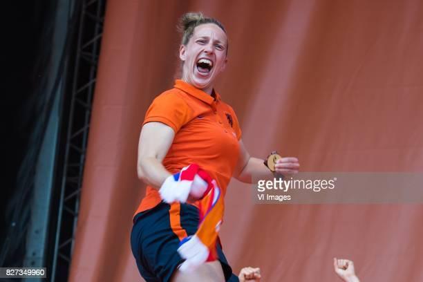 goalkeeper Sari van Veenendaal of Holland Women during the honoring of the Netherlands women team at Park Lepelenburg on August 07 2017 in Utrecht...