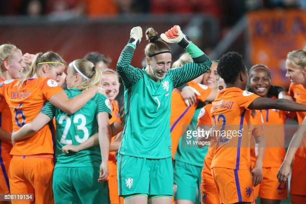 goalkeeper Sari van Veenendaal of Holland Women during the semifinal UEFA WEURO 2017 match between The Netherlands and England at the Grolsch Veste...