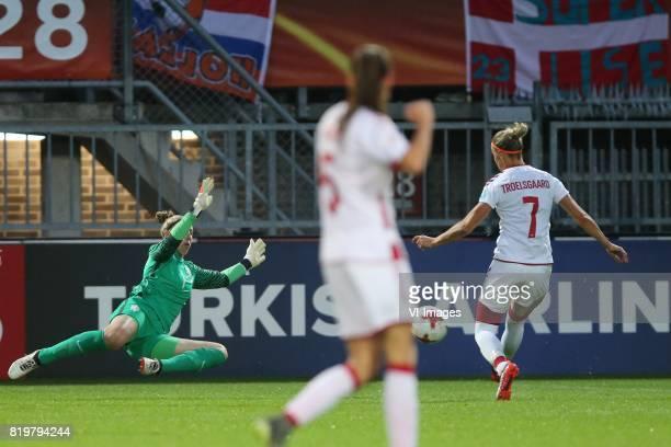 goalkeeper Sari van Veenendaal of Holland Women Sanne Troelsgaard of Denmark women during the UEFA WEURO 2017 Group A group stage match between The...