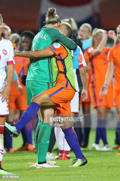 goalkeeper Sari van Veenendaal of Holland Women Shanice van de Sanden of Holland Women during the UEFA WEURO 2017 Group A group stage match between...